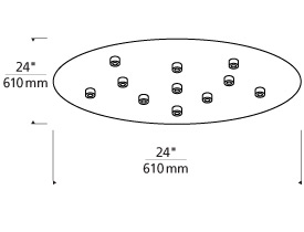 Line-Low Voltage Round Canopy 11-port LED Line Art